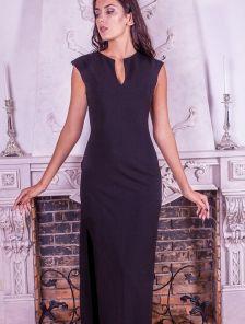 Черное длинное платье с мерцанием и вырезом на ножке
