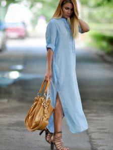 Голубое льнянное длинное платье свободного кроя