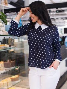 Стильная шифоновая блуза с длинным рукавом в синем чвете