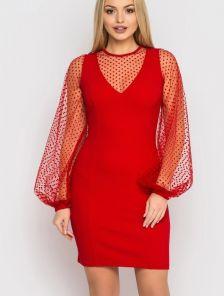 Летнее короткое платье на длинный объемный рукав из сетки в горох красного цвета