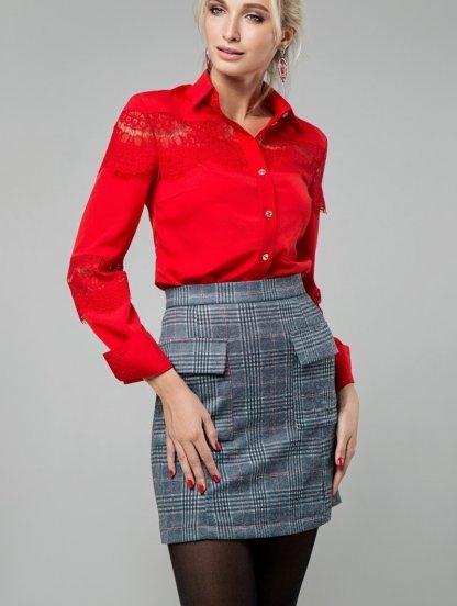 Мини юбка в клетку с накладными карманами на молнии, фото 1