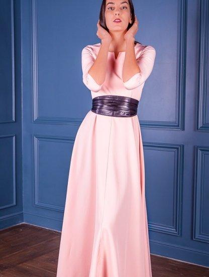 Вечернее светлое платье на длинный рукав, фото 1