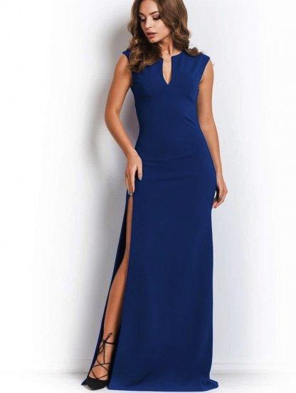 Вечернее платьес глубоким боковым разрезом в темно синем цвете, фото 1