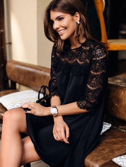 Коктейльное черное платье трапеция, фото 1