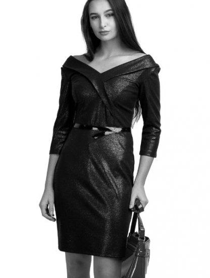 Вечернее черное коктейльное платье с открытым декольте и вырезом, фото 1