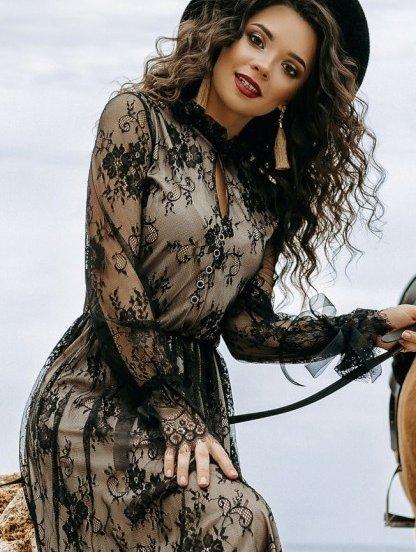 Нарядное коктейльное кружевное платье на длинный рукав, фото 1