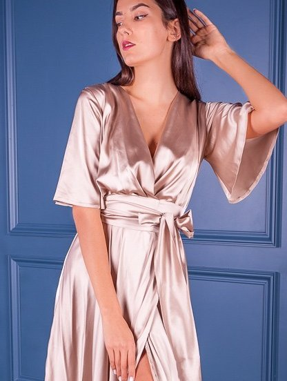 Длинное вечернее шелковое бежевое платье с коротким рукавом, фото 1