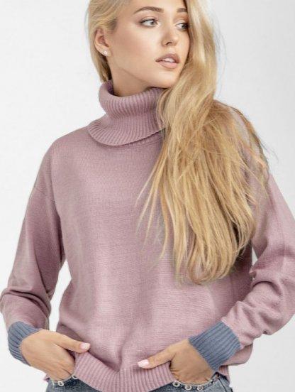 Пудровый теплый свитер, 18% шерсть, 15% альпака, фото 1