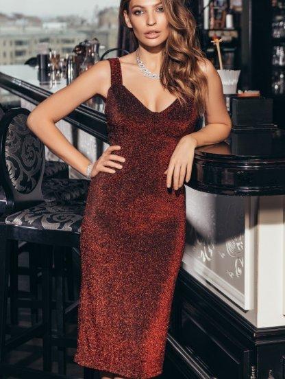 Праздничное люрексовое вечернее оригинальное платье, фото 1