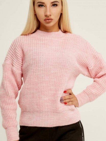 Розовый теплый вязаный зимний свитер с объемным рукавом, фото 1