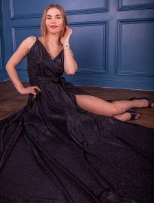 Длинное вечернее блестящее черное платье