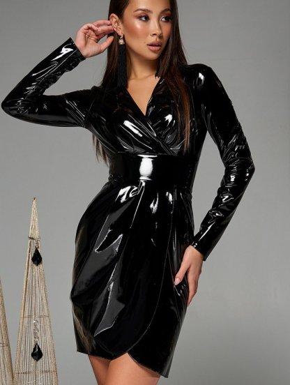 Черное короткое латексное платье с имитацией запаха на длинный рукав, фото 1