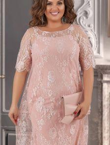 Бежевое коктейльное кружевное платье большого размера