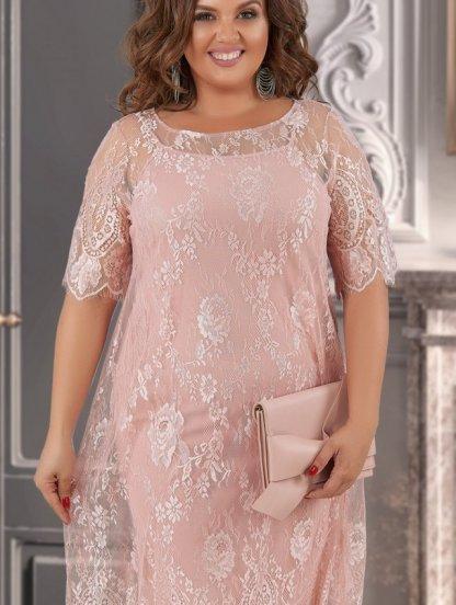 Бежевое коктейльное кружевное платье большого размера, фото 1