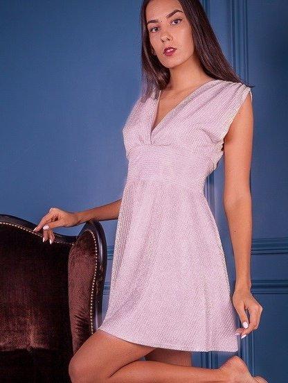 Блестящее короткое платье с завышенной талией без рукава, фото 1