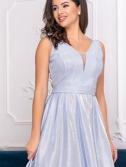 Вечернее серебристое платье в ресторан и на вечеринку, фото 1