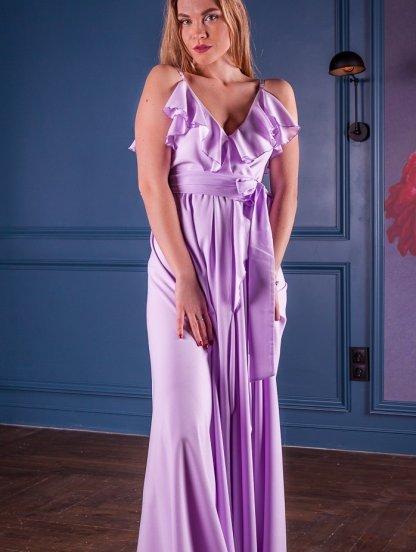 Вечернее длинное платье с воланами и с запахом, фото 1