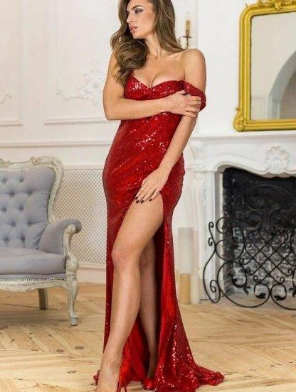 Длинное красное платье в пайетку с разрезом по ножке, фото 1